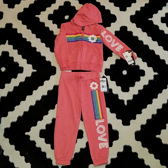 Cat Stars Glitter Girls 2 Piece Outfit Pants /& Top NWT 2 or 3T Pink Gray Black